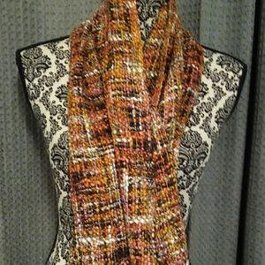 Orange and brown tweed scarf